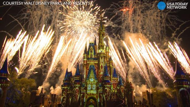 Don't blink! You won't want to miss Cinderella's castle at the Magic Kingdom get a makeover as part of Disney's nighttime fireworks and projections show.