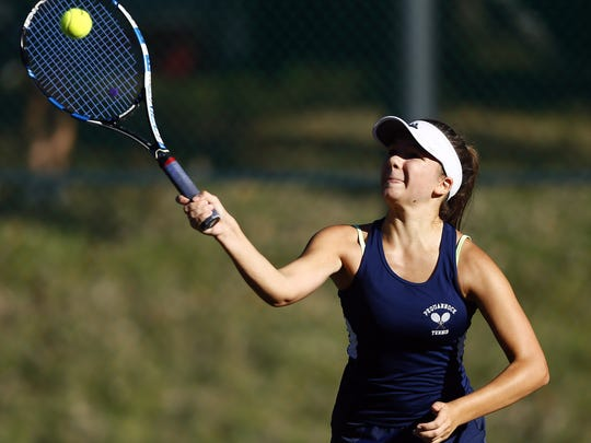 Pequannock's Kamila Magiera hits a forehand during