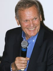 Actor and pop singer Tab Hunter pictured on Oct. 27, 2004, on stage at the Palm Springs Art Museum.
