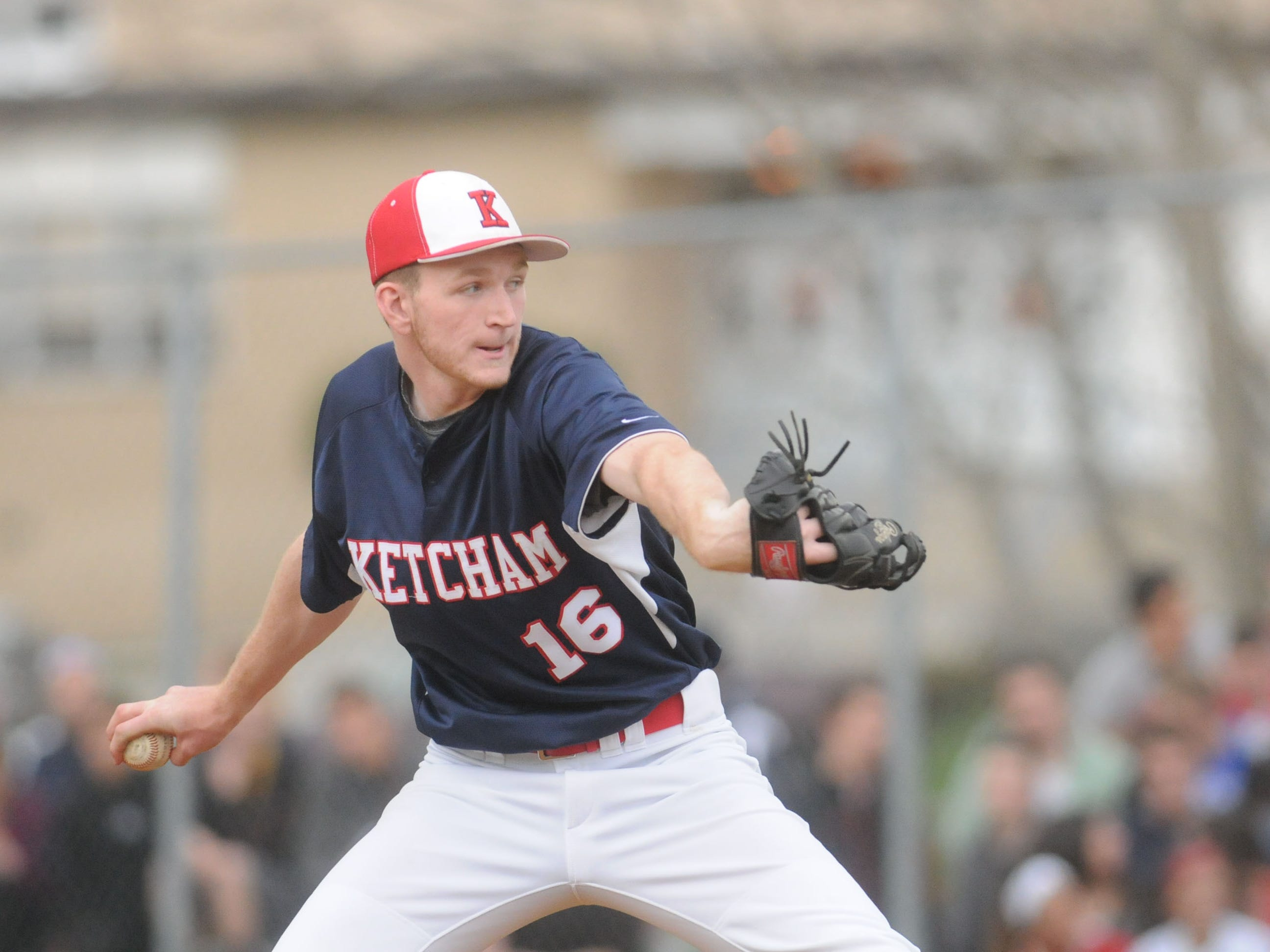 Ketcham's Dylan D'Anna winds up a pitch in Friday's game against Arlington.