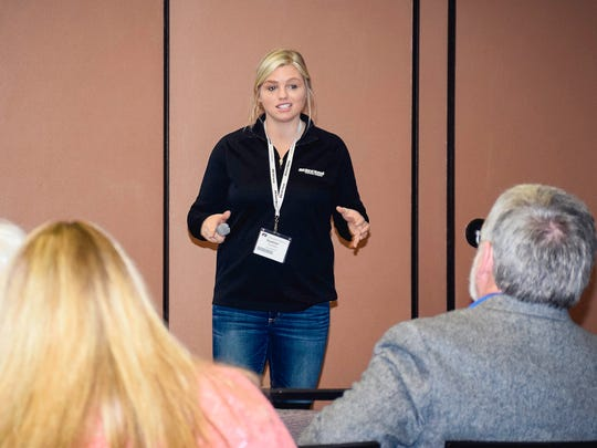 Rural Mutual Insurance Company Marketing Specialist Heather Conroy (pictured) was joined by Rural Mutual Insurance Agent Jennifer Zinda-Mancl and Marathon County Farm Bureau member Katie Zoromski to talk about best practices on social media during the Wisconsin Farm Bureau Federation Ignite Conference.