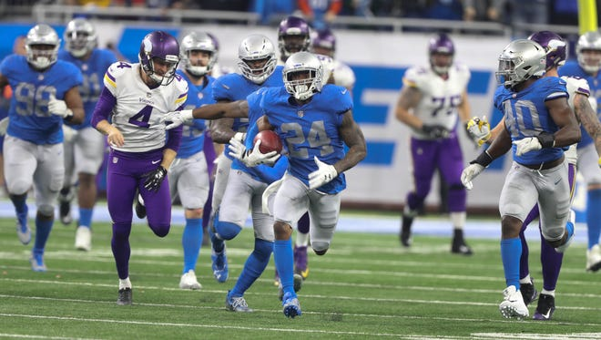 Nevin Lawson returned this blocked field goal back for a touchdown late in the fourth quarter, but the Lions were flagged for offsides, giving the Vikings a first down to seal their 30-23 win.