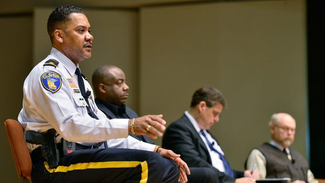 St. Cloud Police Chief Blair Anderson responds to comments on a video from FBI Director James Comey about the subject of race, bias and policing during a panel discussion Tuesday at St. Cloud State University's Ritsche Auditorium.