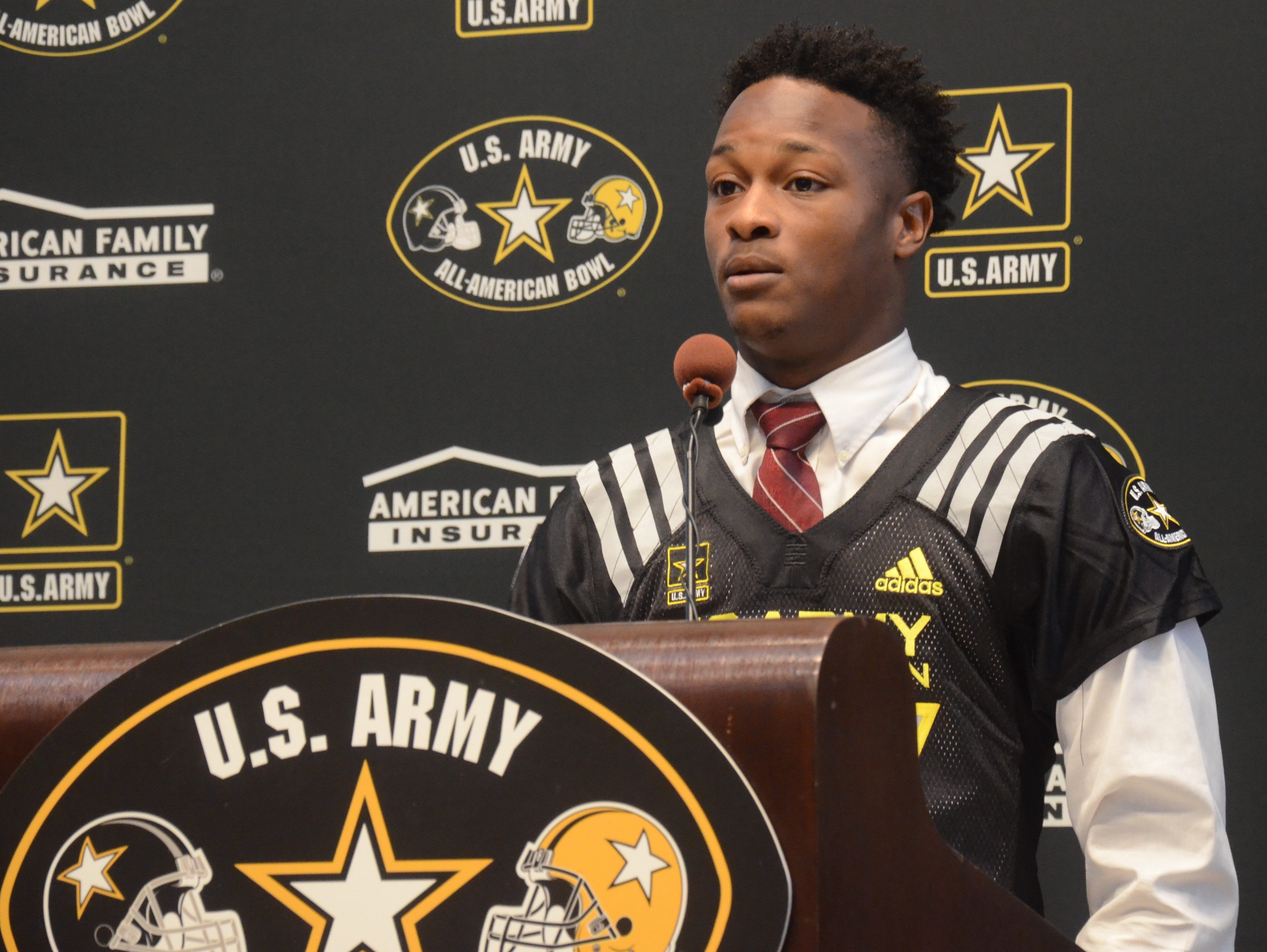 MBA running back Ty Chandler was presented an honorary U.S. Army All-American jersey on Thursday.
