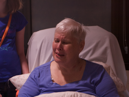 Ruth Root breaks down in tears as she thanks Dr. Rick