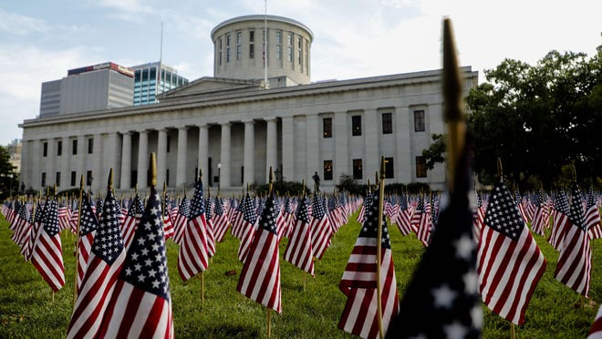 American flags, pictured on Sept. 11, 2019, usually are displayed as part of a 9/11 Memorial at the Statehouse. The flag memorial has been canceled for 2020 because of the COVID-19 pandemic and nearby racial-injustice protests.