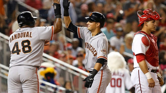 Aug 22, 2014; Washington, DC, USA; San Francisco Giants second baseman Joe Panik (12) celebrates with Giants third baseman Pablo Sandoval (48) after hitting a three-run home run against the Washington Nationals in the fourth inning at Nationals Park. Mandatory Credit: Geoff Burke-USA TODAY Sports