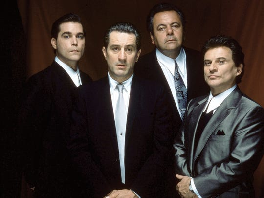 Publicity shot of Ray Liotta as Henry Hill, Robert De Niro as James Conway, Paul Sorvino as Paul Cicero, and Joe Pesci as Tommy DeVito in the motion picture Goodfellas.