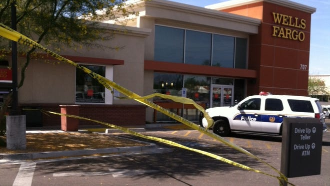 The scene of a fatal shooting involving the attempted robbery Friday of an armored car in Phoenix.
