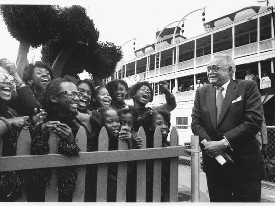 Detroit mayor Coleman Young near the Boblo boat in 1988.