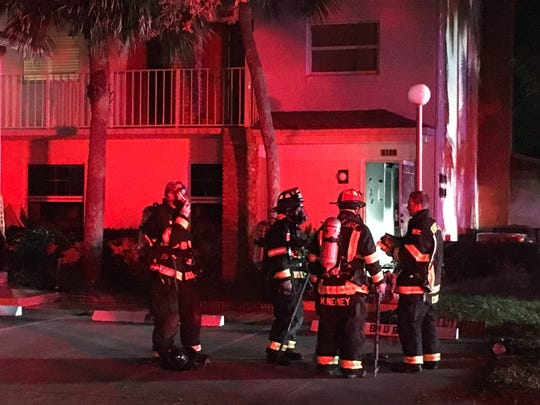 Firefighters tackled a blaze at an apartment complex in Rockledge on Sunday night.