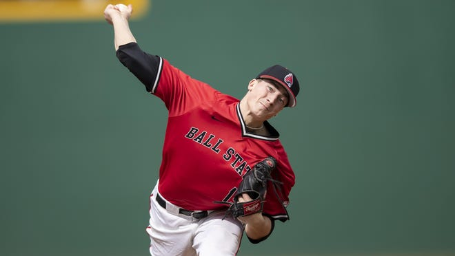 Former Jackson ace Kyle Nicolas, seen here pitching for Ball State, is expected to be selected in this week's Major League Baseball Draft.
