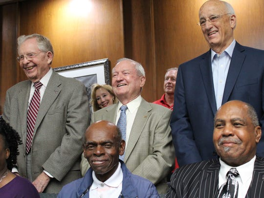 Three former Abilene mayors attended the last Abilene City Council meeting for Norm Archibald and the first new Mayor Anthony Williams in June 2017. They were, from left, Fred Lee Hughes, Grady Barr and Gary McCaleb. Hughes died in 201x.