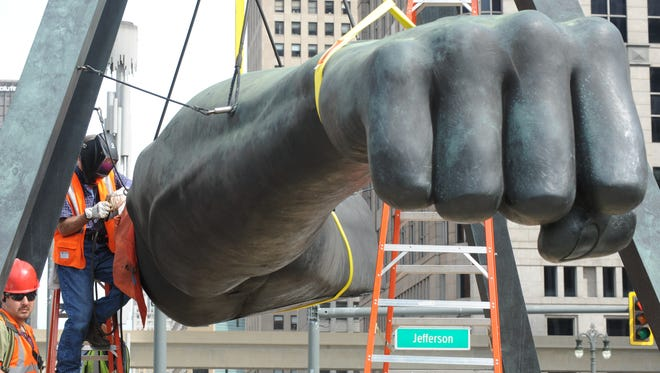 The 24-foot bronze sculpture displayed near downtown's Hart Plaza is part of the DIA's collection and the museum says it needs conservation treatment about every 10 years.