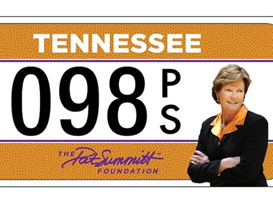 Special Pat Summitt Foundation license plates will include the foundation logo and a photo of Summitt. This is a preliminary design.