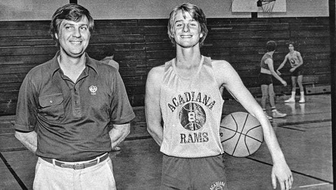 Ex-Acadiana High basketball coach Bobby Beene, shown here posing for a photo with his son Stephen during his early Rams' days in the early 1980s, will have the school's basketball court offiically named in his honor at a 6 p.m. ceremony Saturday.