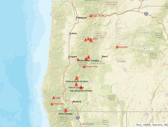 A map showing all the wildfires across Oregon as of