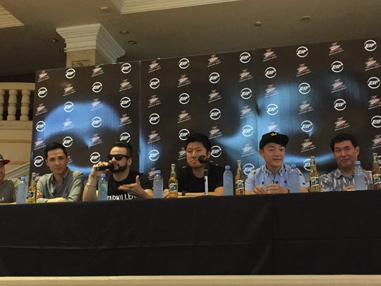 Several of the artists featured at tomorrow's 3rd Electronic Island Festival spoke at a press conference today at the Holiday Resort & Spa Guam. From left: J. Sanders, Andrew Hong, Starkillers, Jia Wang, Sabi of Techriders, Kiyoshi Kawano, hotel general manager; and PharmDJ.