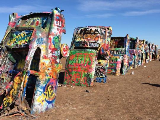 The Cadillac Ranch art installation, Route 66, Amarillo, Texas