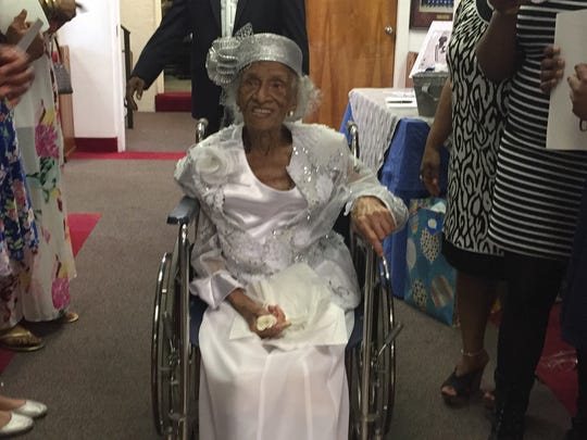 """Miss Mattie"" Mae Cisrow, pictured at her 110th birthday party in 2015, died March 3 in Cocoa."