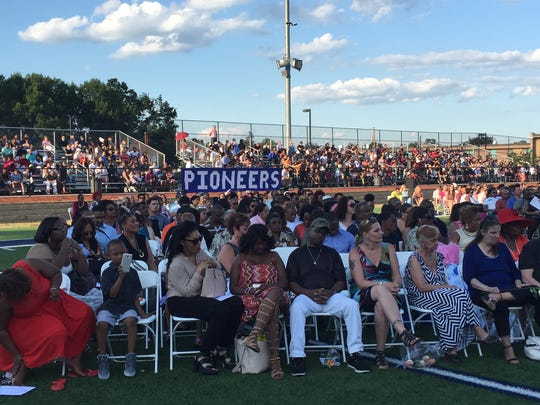 Family and friends gather for the Poughkeepsie High School graduation.