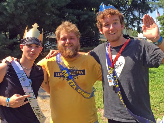 """The three winners of Mr. FFA Ushers for all three years of the contest's existence post for a photo, from left: Greg Jensen from Marengo (2016), Hunter """"Catfish"""" Hamilton from Lone Tree (2014), and Seth Weirup from Delmar (2015)."""