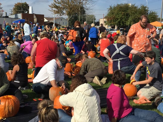 A large crowd gathered Saturday in Marine City for the Pumpkins, Popcorn and Politics event.