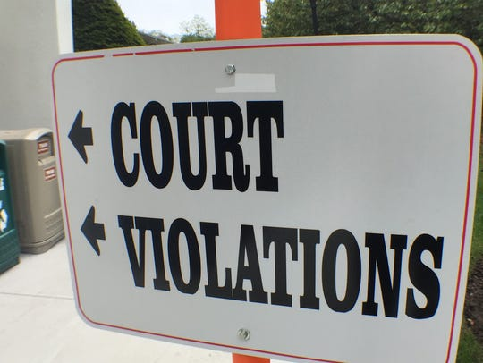 A sign outside Freehold Township's municipal court.