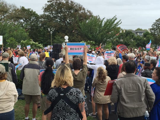 Hundreds gather at Library Square Park in Asbury Park on July 29, 2017 to support transgender people in the armed forces.