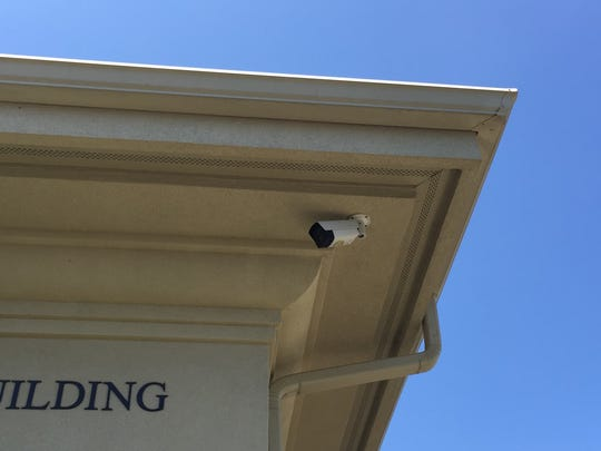 A security camera on the front of Congregation Shaare Tefilah Bene Moshe in Eatontown, July 31, 2017.