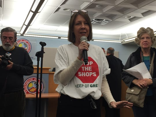 Jacqui Wenzel speaks after the adjournment of the Township