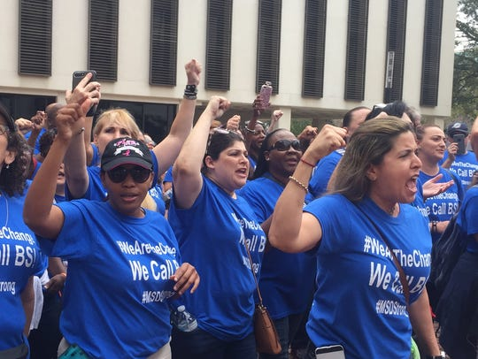 Broward County teachers march to Capitol.