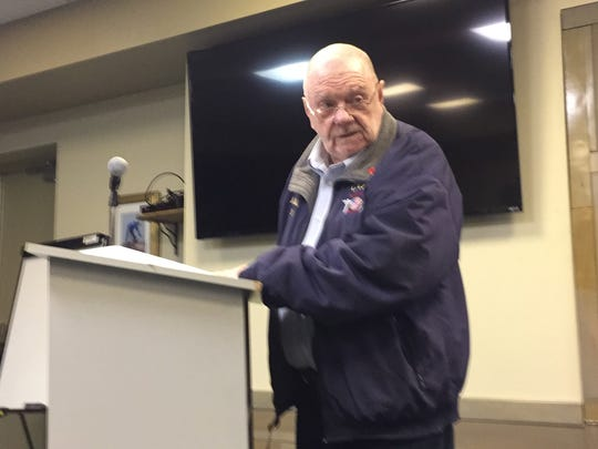 J. W. Jeffries, longtime member and officer of the Chincoteague Volunteer Fire Company, speaks to the Chincoteague Town Council on Monday, March 5, 2018 in Chincoteague, Virginia.