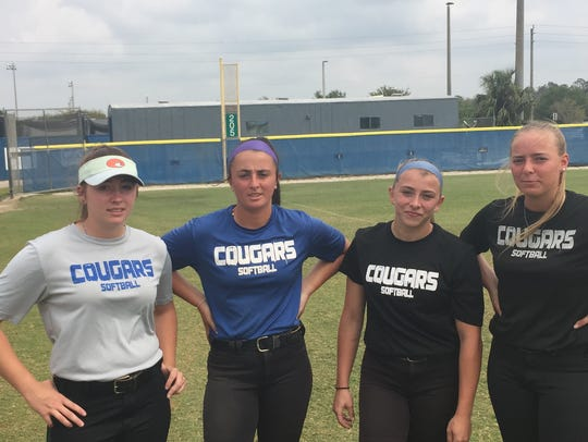 From left: Barron Collier senior softball starters