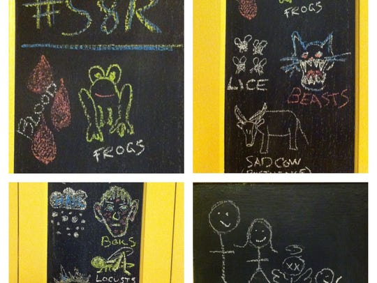 Chalkboard illustrations represent the plagues recounted