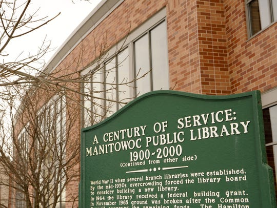 """Century of Service"" sign outside Manitowoc Public"