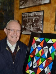 Warren Johnson has taken up painting in his 80's and brought samples of recent work to the Court Street Dairy Lunch on Tuesday, May 20, 2014.