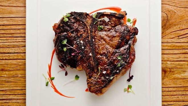 The 32 oz. butter poached, dry aged porterhouse steak from Bourbon Steak at the Scottsdale Fairmont Princess.