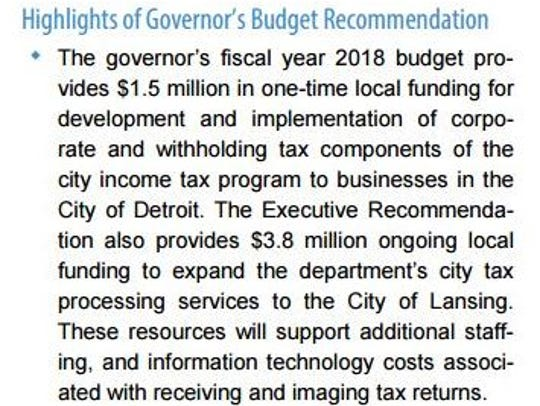 This excerpt in Gov. Rick Snyder's proposed budget