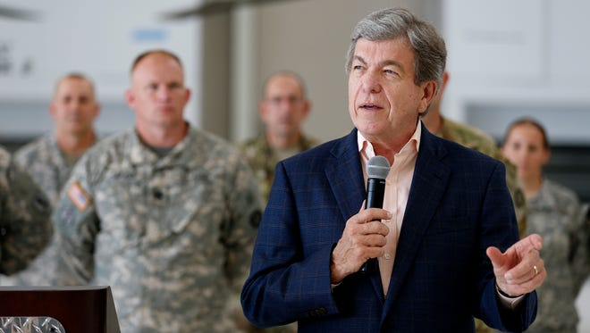Sen. Roy Blunt speaks about the phase three expansion of the Aviation Classification Repair Activity Depot (AVCRAD) facility in Springfield, after a tour on Friday, Aug. 18, 2017. Blunt addressed several topics related to Trump, the exit of Steve Bannon, and state Sen. Maria Chappelle-Nadal.