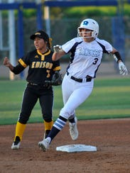 Emma Ruth rounds second base during the Central Section Division II softball championship game between No. 1 Redwood and No. 2 Edison at Fresno State's Margie Wright Diamond on May 26, 2018.