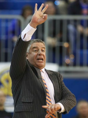 Auburn coach Bruce Pearl during the first half of an NCAA college basketball game against the Florida Gators at Stephen C. O'Connell Center.