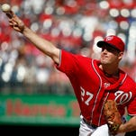 Washington starting pitcher Jordan Zimmermann throws during the first inning os Sunday's game against the Miami Marlins at Nationals Park in Washington. Zimmermann would go on to throw a no-hitter.