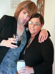 Troy Hendrickson as his alter-ego Aunt Mary Pat DiSabatino and the woman who inspired the gag — his mother, Susan Hendrickson.
