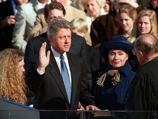 President Bill Clinton is sworn in on Jan. 20, 1993.