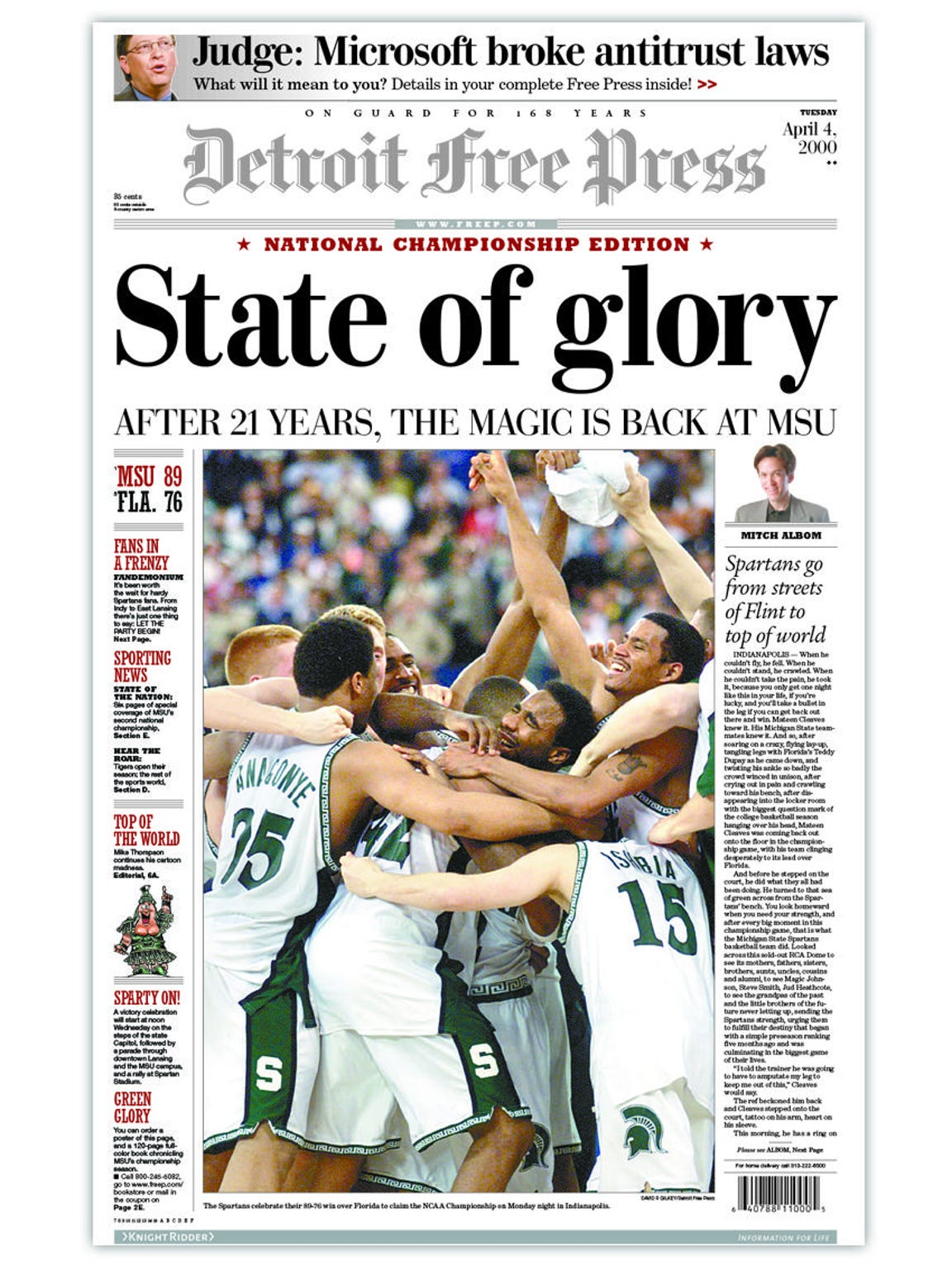 2000, Michigan State wins the national title.