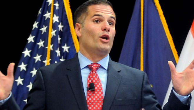 Dutchess County Executive Marc Molinaro delivers his 2015 budget proposal. He now proposes to consolidate economic development agencies.