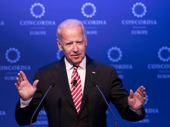 Former Vice President Joe Biden, shown in this 2017 photo, was in Helena March 10 to talk to Montana Democrats.
