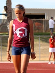 La Quinta senior, Nirie Boglino, reacts to her high jump miss during the track and field Desert Valley League preliminies at Cathedral City High School on Tuesday, May 5, 2015.