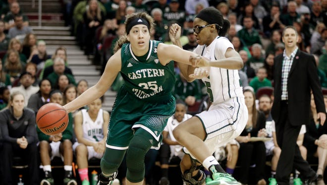 Eastern Michigan forward Brianna Puni (35) drives on Ohio forward Jasmine Weatherspoon in the finals of the NCAA Mid-American Conference women's basketball championship game Saturday, March 14, 2015, in Cleveland.